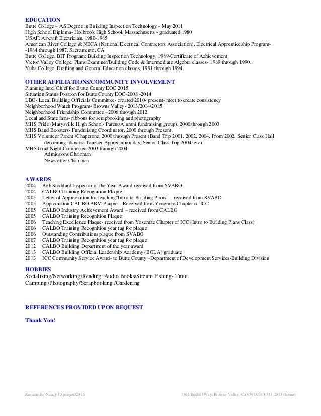 nancy springer 2015 resume