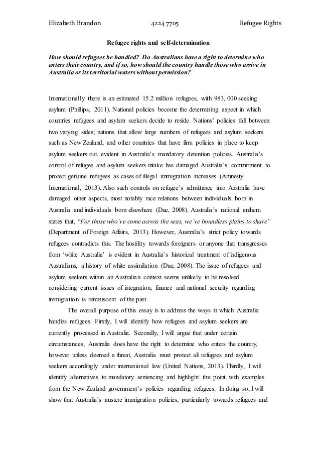 Sample IELTS refugees essay