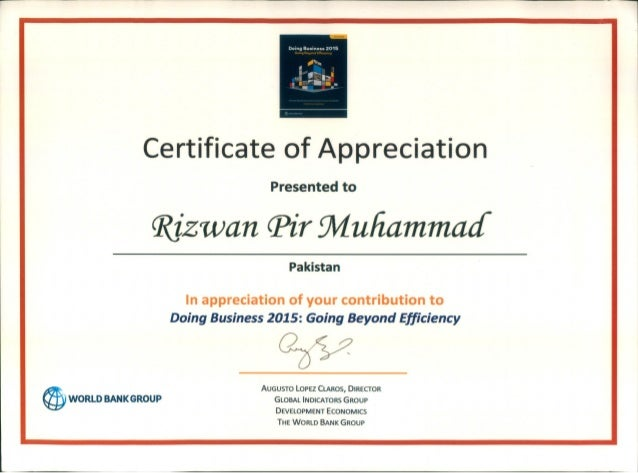 The World Bank Appreciation Certificate And Thanks Letter