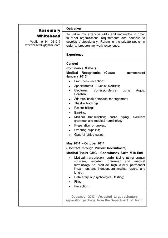 rosemary whitehead resume 2016