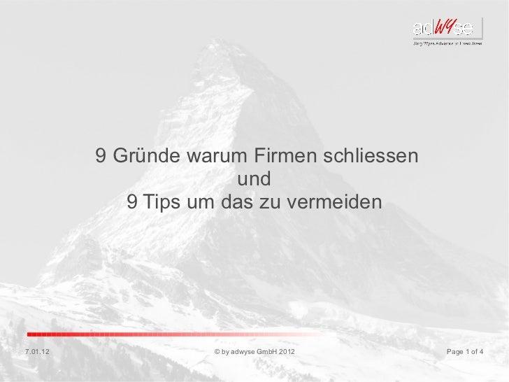 9 Gründe warum Firmen schliessen                        und             9 Tips um das zu vermeiden7.01.12              © b...