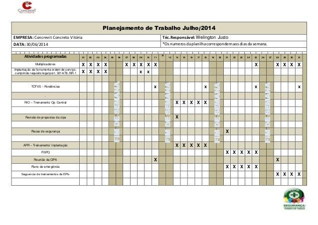 Planejamento de Trabalho Julho/2014 EMPRESA: Concrevit Concreto Vitória Téc.Responsável: Welington Justo DATA: 30/06/2014 ...