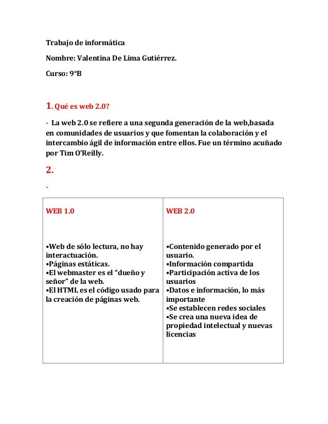 Trabajo de informática Nombre: Valentina De Lima Gutiérrez. Curso: 9°B 1. Qué es web 2.0? - La web 2.0 se refiere a una se...