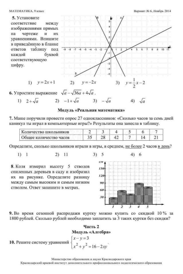 Диагностическая работа по математике 1 вариант 6 класс ответы