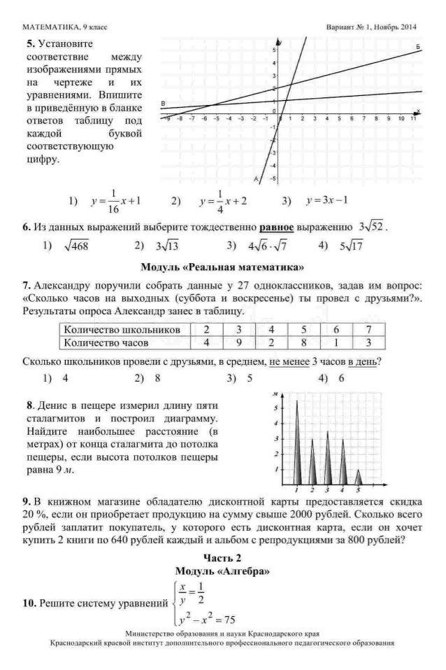 Кдр ответы 9 класс геометрия