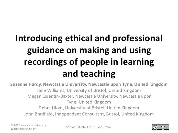 Introducing ethical and professional      guidance on making and using     recordings of people in learning              a...