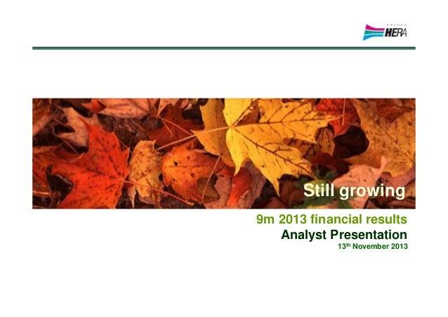 Hera Group 9M 2013 financial results - Analyst presentation, 13 November 2013