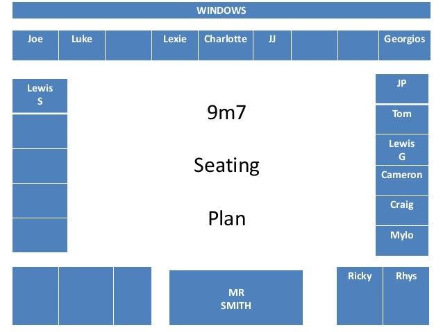 Joe Luke Lexie Charlotte JJ Georgios Ricky Rhys Lewis S JP Tom Lewis G Cameron Craig Mylo WINDOWS MR SMITH 9m7 Seating Plan