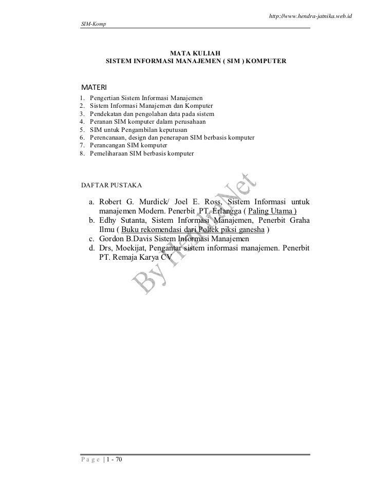 http://www.hendra-jatnika.web.idSIM-Komp                         MATA KULIAH          SISTEM INFORMASI MANAJEMEN ( SIM ) K...