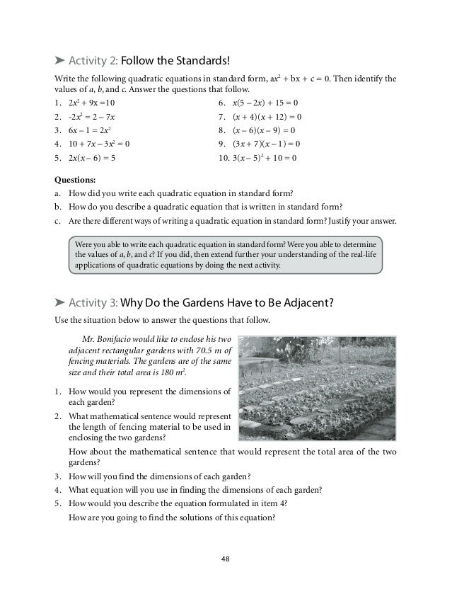 From linear to quadratic worksheet answers algebra with pizzazz