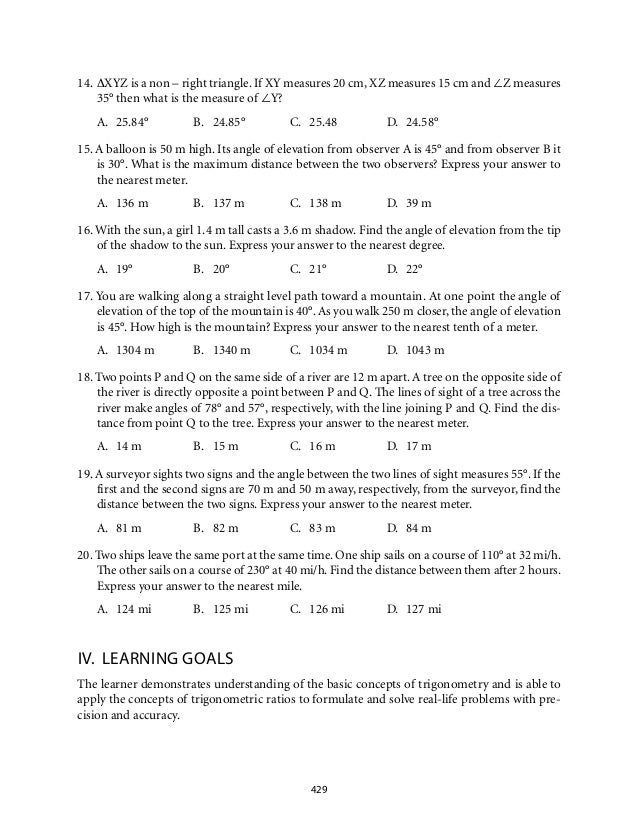Right Triangle Trigonometry Word Problems Grade 9 mathematics module 7 ...