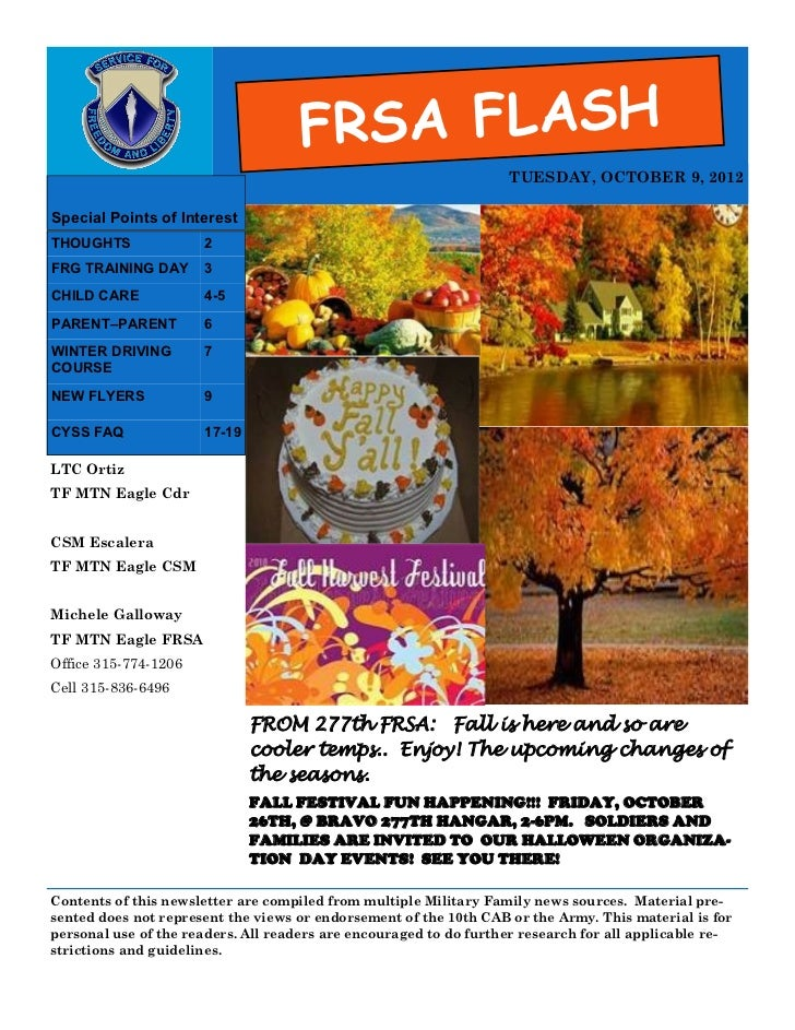 FRSA FLASH                                                                   TUESDAY, OCTOBER 9, 2012Special Points of Int...