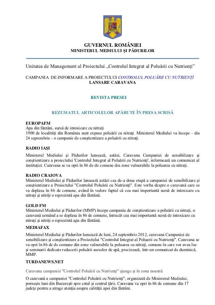"""GUVERNUL ROMÂNIEI                          MINISTERUL MEDIULUI ŞI PĂDURILORUnitatea de Management al Proiectului """"Controlu..."""