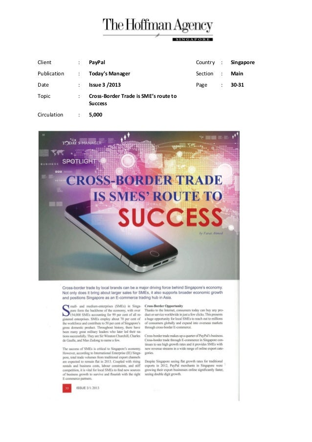 Client : PayPal Country : Singapore Publication : Today's Manager Section : Main Date : Issue 3 /2013 Page : 30-31 Topic :...