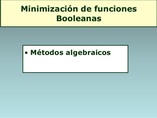 Minimización de funciones Booleanas • Métodos algebraicos