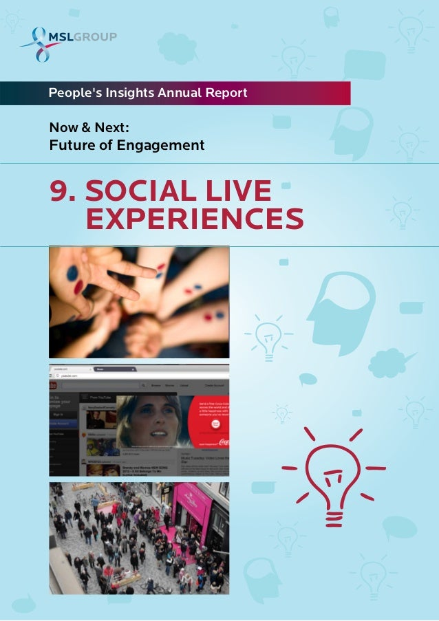 9. SOCIAL LIVEEXPERIENCESPeoples Insights Annual ReportNow & Next:Future of Engagement