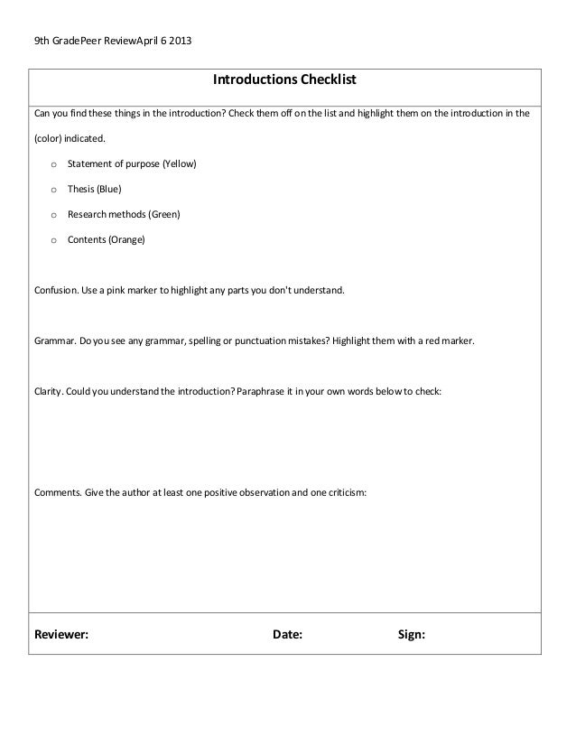 9th GradePeer ReviewApril 6 2013Introductions ChecklistCan you find these things in the introduction? Check them off on th...