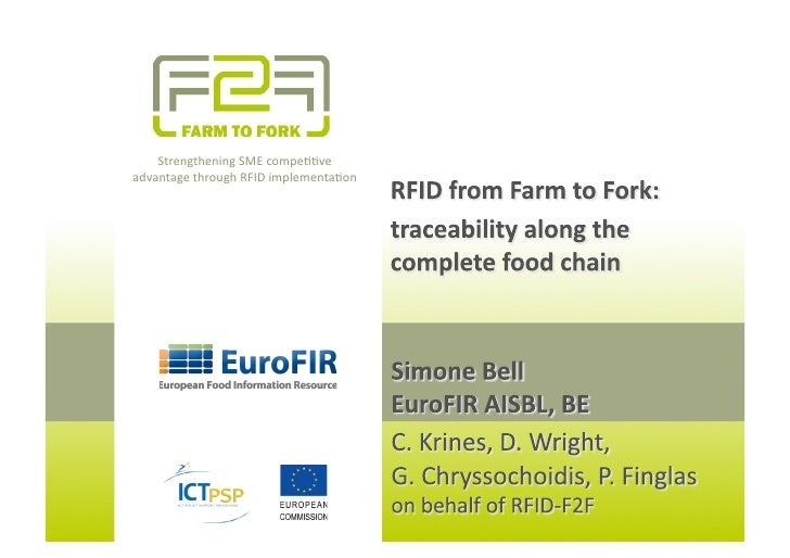 RFID from Farm to Fork 14 September 2011 IFDC, Norwich