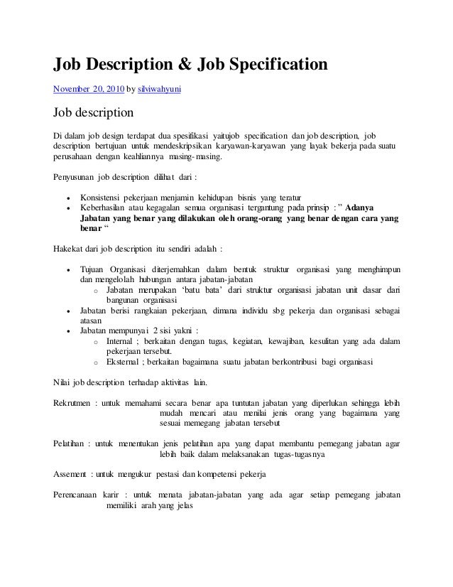 Job description job specification november 20 2010 by silviwahyuni job