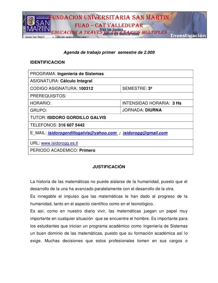 Agenda   Calculo Integral I Semestre 2008    (Isidoro Gorillo)Publicada