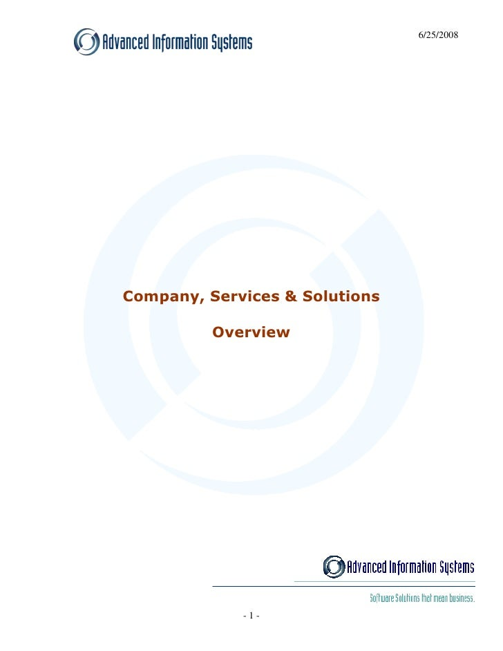 6/25/2008     Company, Services & Solutions            Overview                  -1-