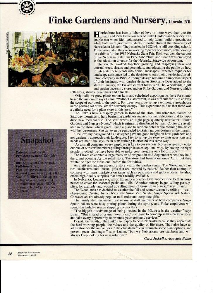 Magazine article-Retail Nursery Business Profile