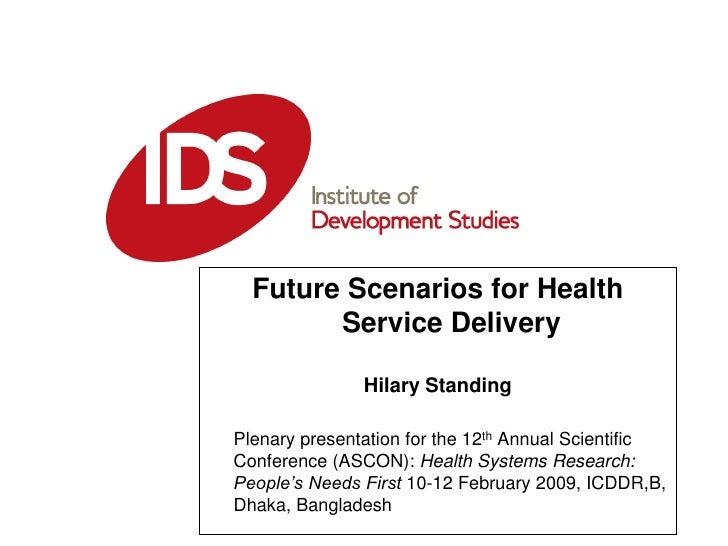Future Scenarios for Health Service Delivery