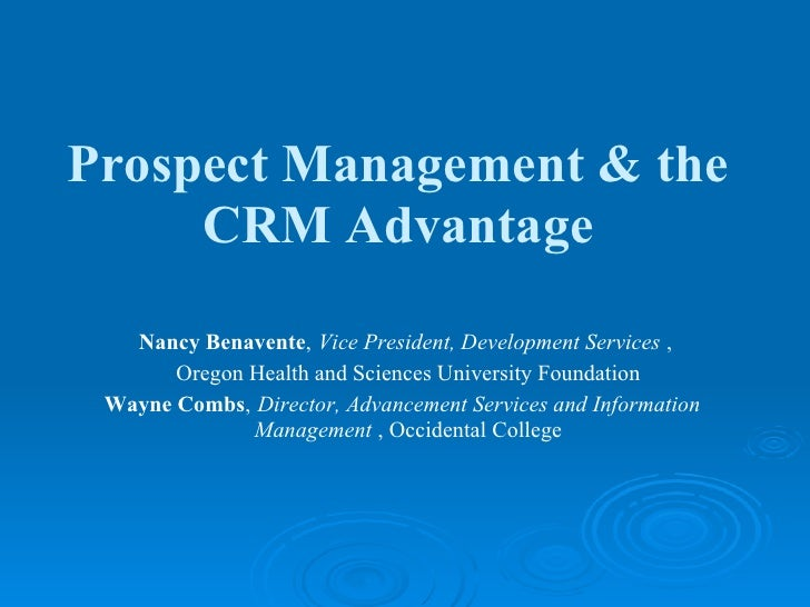 Prospect Management and the CRM Advantage