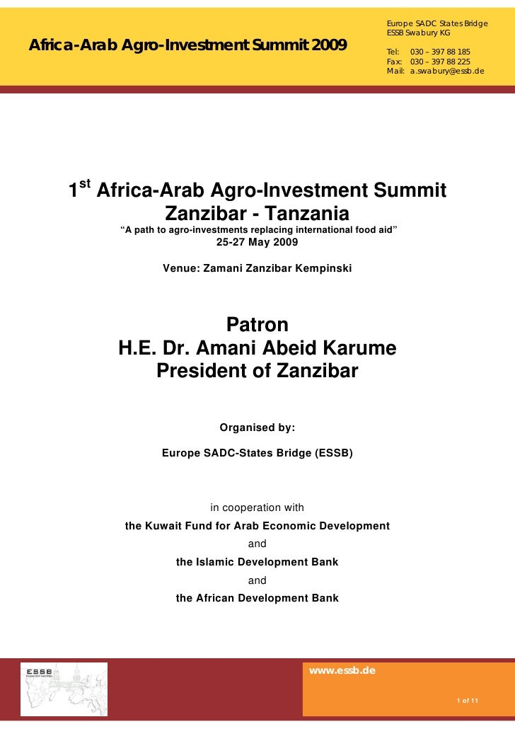 Europe SADC States Bridge                                                                      ESSB Swabury KG Africa-Arab...