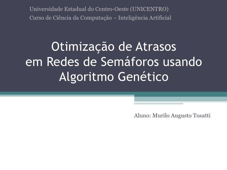 Otimização de Atrasos em Redes de Semáforos usando Algoritmo Genético Aluno: Murilo Augusto Tosatti Universidade Estadual ...