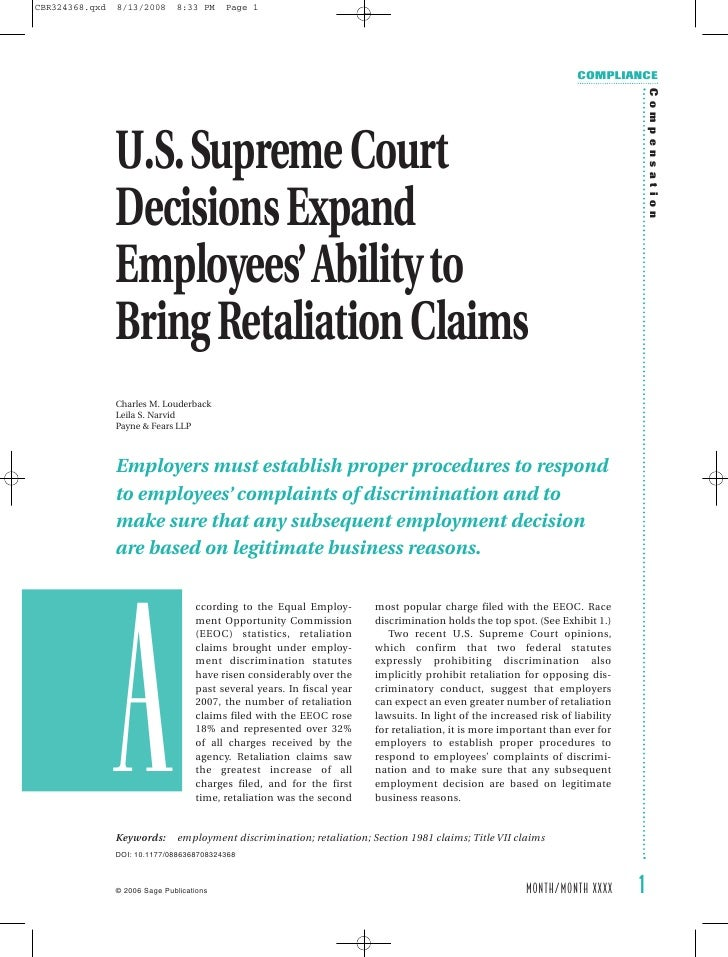 U.S. Supreme Court Decisions Expand Employees' Ability to Bring Retaliation Claims