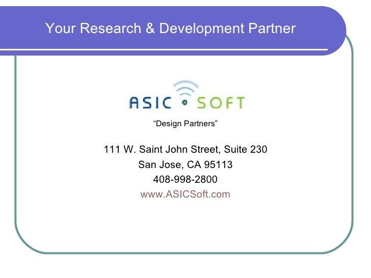 ASICSoft Technologies Overview - R&D