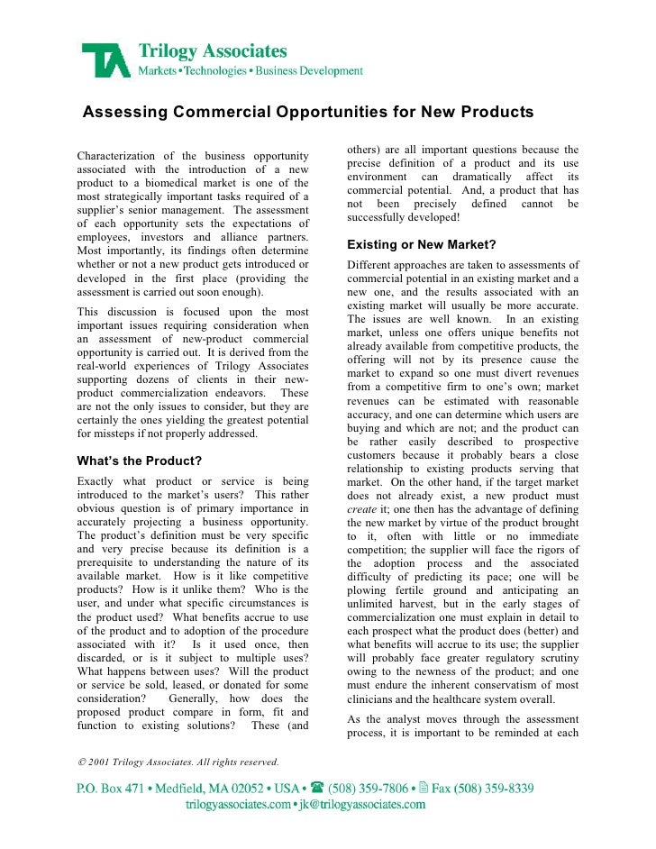 Assessing Commercial Opportunities for New Products                                                       others) are all ...