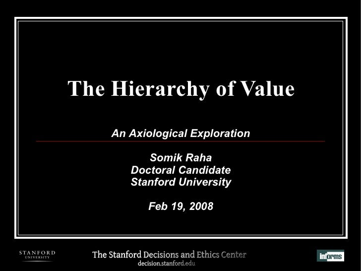 The Hierarchy of Value An Axiological Exploration Somik Raha Doctoral Candidate Stanford University Feb 19, 2008