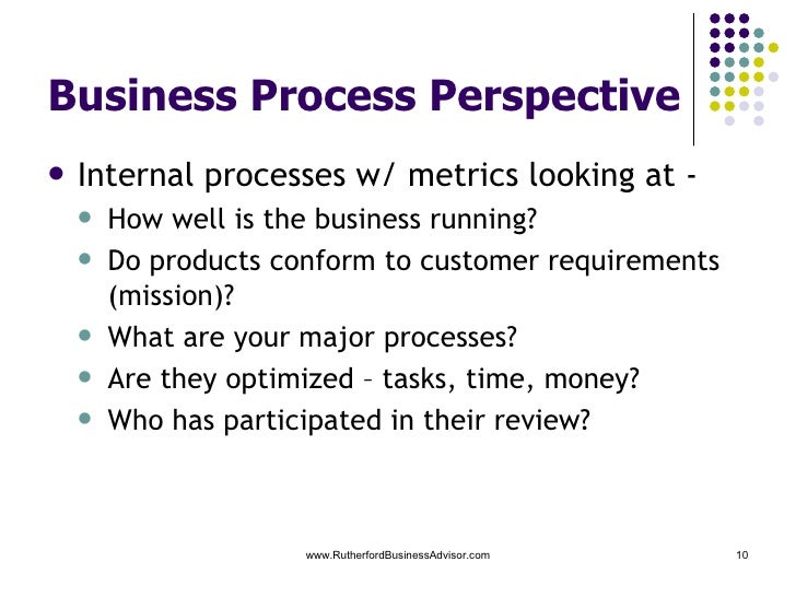 internal business process perspective This perspective refers to internal business processes metrics based on this perspective allow the managers to know how well their business is running, and whether its products and services conform to customer requirements (the mission) these metrics have to be carefully designed by those who know.