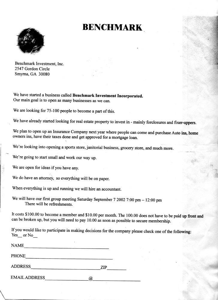 Benchmark Business Letter (Original Copy)