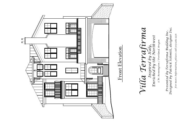 Front Elevation    Villa Terrafirma          Inspired by Italy,      Enriched by the Northwest         S.W. Bennington / P...