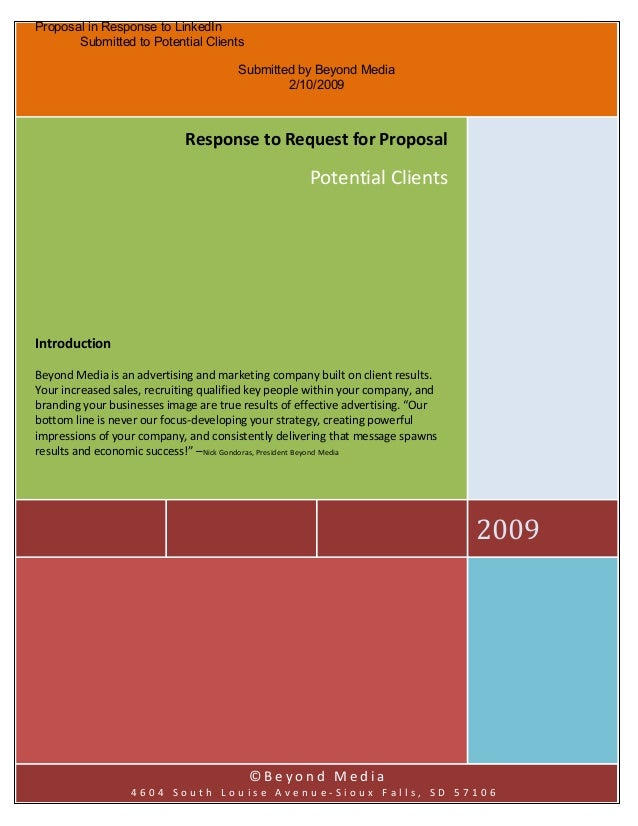 Proposal in Response to LinkedIn Submitted to Potential Clients Submitted by Beyond Media 2/10/2009 2009 Response to Reque...