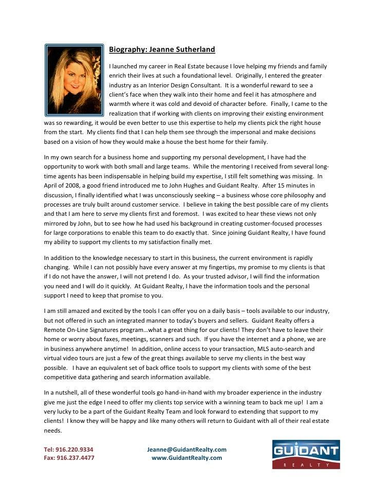 Biography:JeanneSutherland                          IlaunchedmycareerinRealEstatebecauseIlovehelpingmyfrien...