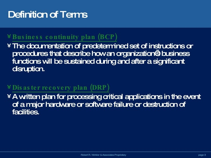 continuity plan overview Sample business continuity plan preface the purpose of this plan is to define the recovery process developed to restore [your compnay]'s critical business functions the plan components detail [your compnay]'s procedures for responding to an emergency situation, which affects [your.