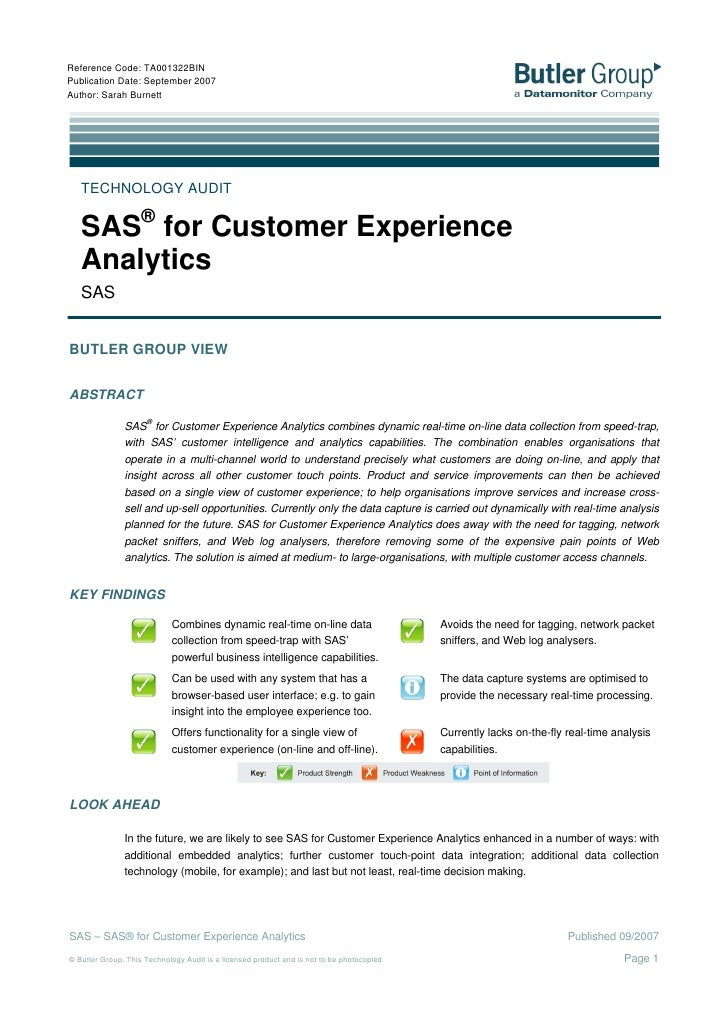 Butler Group Technology Audit Sas For Customer Experience Analytics, September 2007