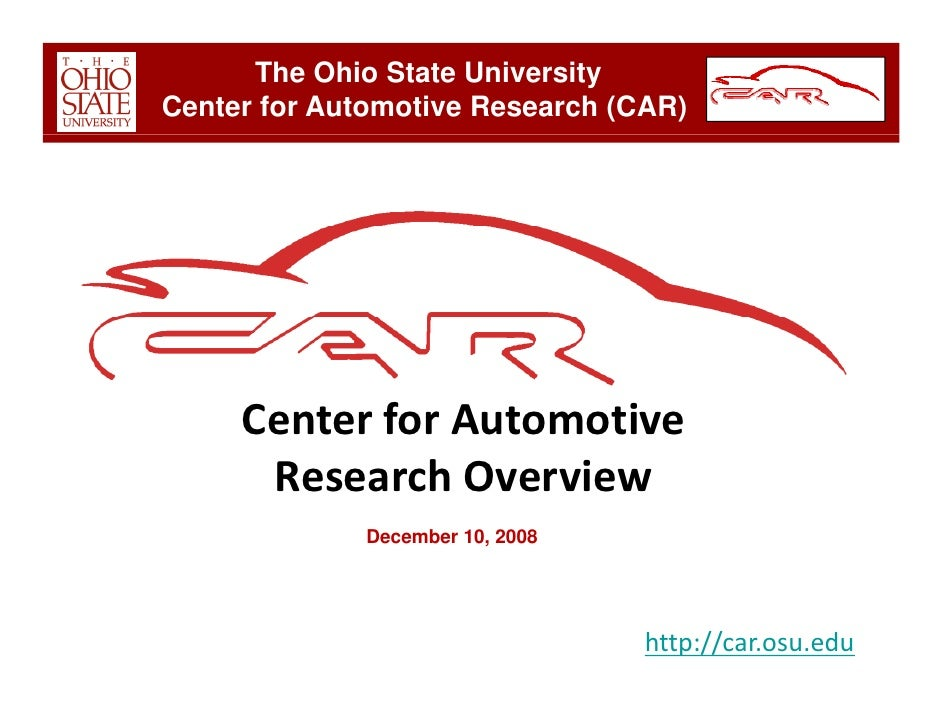 Car Overview Dec 2008