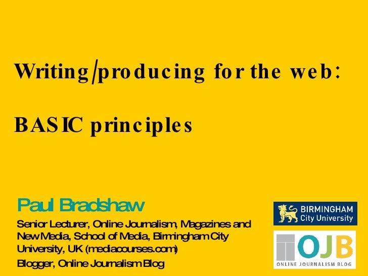 Writing/production for the web - BASIC principles
