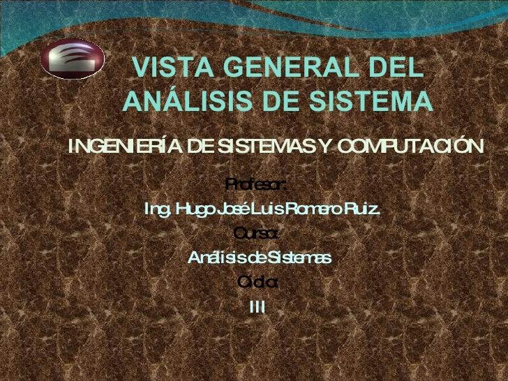 Profesor:  Ing. Hugo José Luis Romero Ruiz. Curso:  Análisis de Sistemas Ciclo: III INGENIERÍA DE SISTEMAS Y COMPUTACIÓN V...