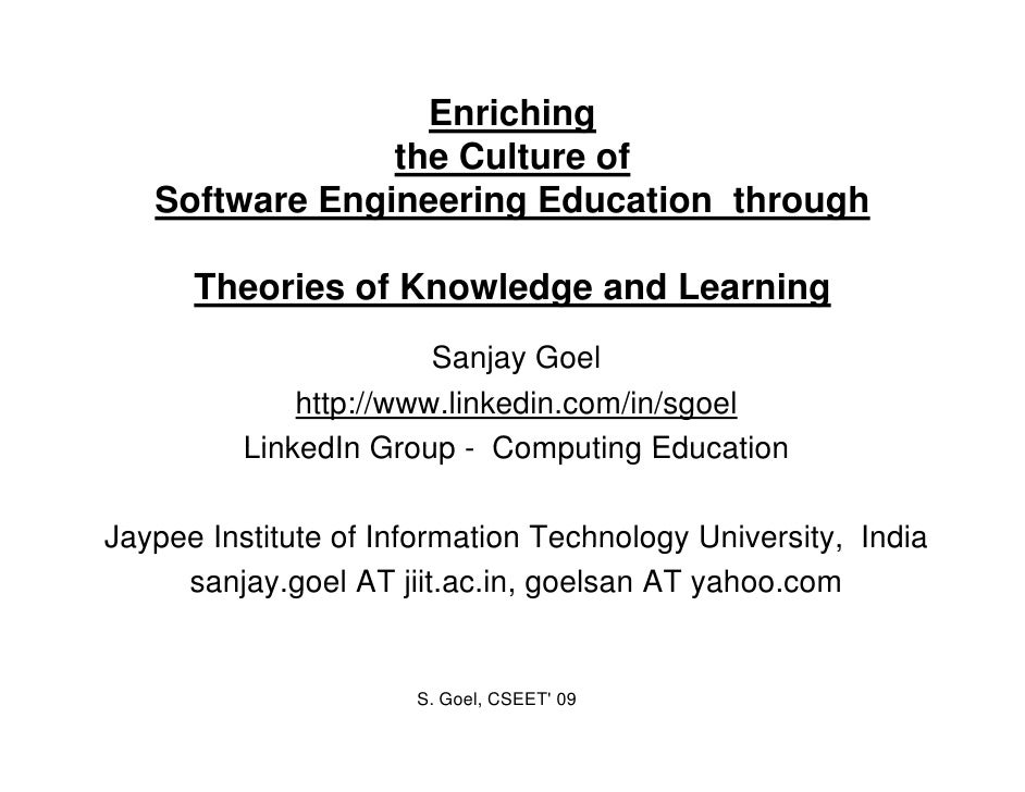 Enriching                 the C lt                 th Culture of                             f    Software Engineering Edu...
