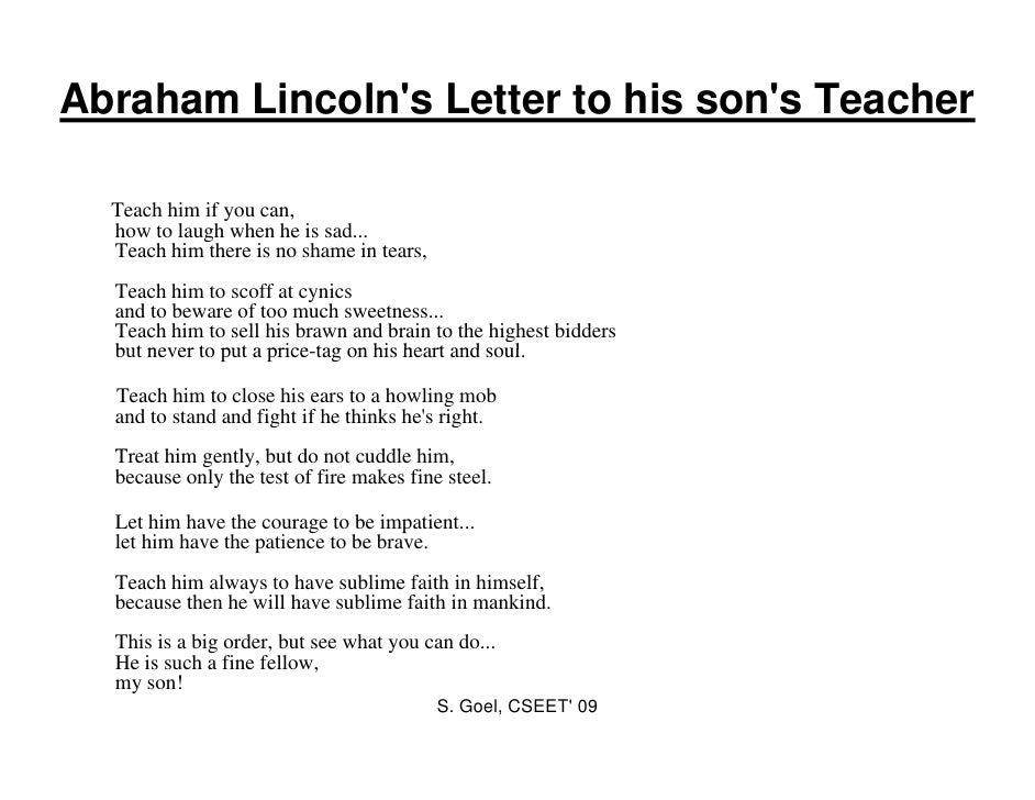 abraham lincoln s letter to his son s teacher Letter of abraham lincoln to his son's teacher 529 likes official page in honour of abraham lincoln's inspiring letter to his sons teacher.