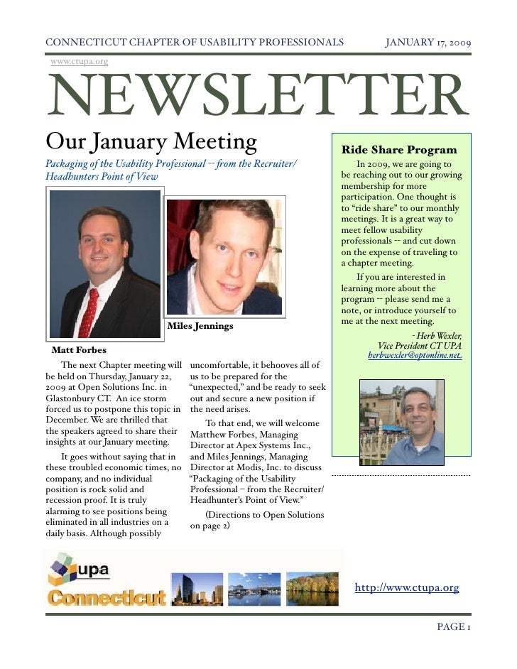 Ct Jan 2009 Newsletter V2