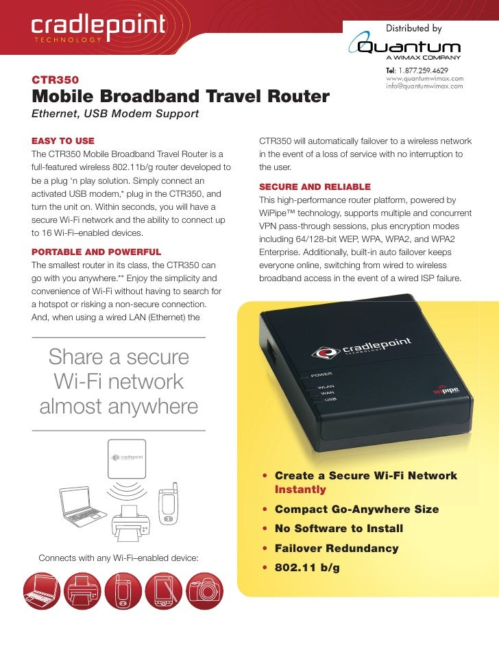 TEC HNOLOGY     CTR350 Mobile Broadband Travel Router Ethernet, USB Modem Support  EASY TO USE                            ...