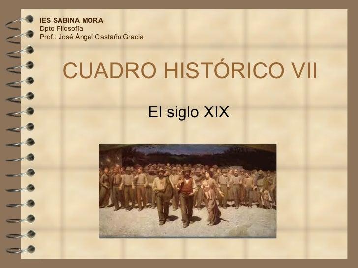 CUADRO HISTÓRICO VII El siglo XIX IES SABINA MORA Dpto Filosofía Prof.: José Ángel Castaño Gracia