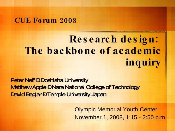 Research design:  The backbone of academic inquiry Peter Neff – Doshisha University Matthew Apple – Nara National College ...